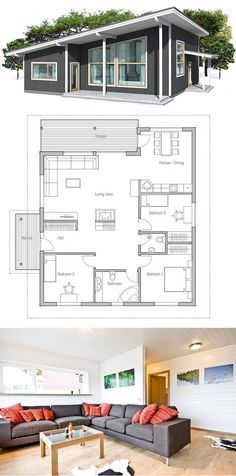 Modern house with high ceilings. Three bedrooms and separate TV area for kids. - House Plans, Home Plan Designs, Floor Plans and Blueprints Modern House Plans, Small House Plans, Small House Design, Modern House Design, Casas Containers, Cottage Plan, Sims House, Tiny House Living, Living Room