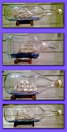 Model ships in bottles.These models were built by Bob Withers an award winning model maker in our museum Boat In A Bottle, Ship In Bottle, Bottle Art, Pirate Ship Wheel, Model Ship Building, Ship Drawing, Model Maker, Baby Memories, Message In A Bottle