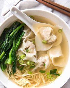 Wonton Soup Broth (for 2 servings) 3 cups / 750 ml chicken broth 2 garlic cloves , smashed ⅓ / 1 cm piece of ginger , sliced (optional, but highly recommended) tbsp light soy sauce 2 tsp sugar (any) tbsp chinese cooking wine ¼ - ½ tsp sesame oil Wonton Soup Broth, Wonton Noodle Soup, Wonton Noodles, Ramen Broth, Ramen Noodle, Beef Broth, Healthy Chinese Recipes, Authentic Chinese Recipes, Asian Recipes