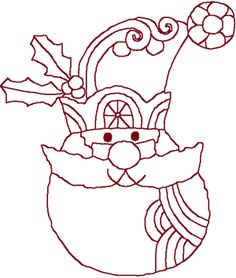 Redwork Santa Claus Face