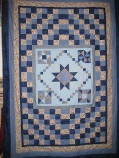 Blauer Blumengarten / 5 Restequilt Nr. 5/2010 maschinengenäht und maschinengequiltet von Elli-Maus ca. 145 x 200 cm