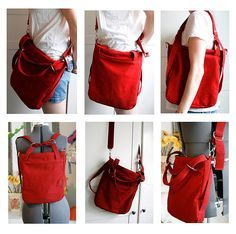 """Liesl + Co. """"A Day in the Park"""" Backpack tote - pattern available for purchase here: http://www.lieslandco.com/backpack.html - this red one is Jenny P's. She says """"I added a long adjustable strap that clips on to the sides to make it a messenger bag when needed"""""""