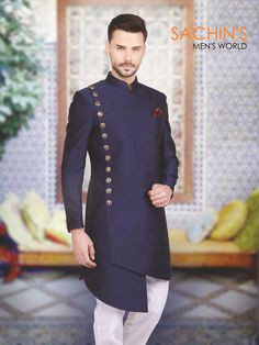 Shop Designer silk plain navy indo western online from India. Brand - Product code - Price - Color - Navy, Fabric - Silk, For Ayush Tilekar Mens Indian Wear, Indian Groom Wear, Indian Men Fashion, Mens Fashion Suits, African Fashion, Groomsmen Fashion, Groom Fashion, Men's Fashion, Wedding Dress Men