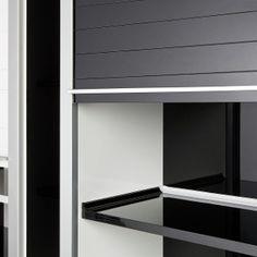 REHAU glass tambour doors - black