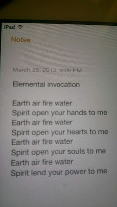 Elemental invocation  - Pinned by The Mystic's Emporium on Etsy