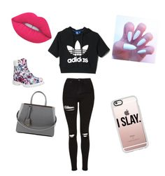 """""""School day"""" by beautifulqueen2 ❤ liked on Polyvore featuring Topshop, Timberland, Fendi, adidas, Lime Crime and Casetify"""
