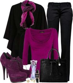 I Love this with the beautiful  purple top, scarf, and shooties. ♡♡♡