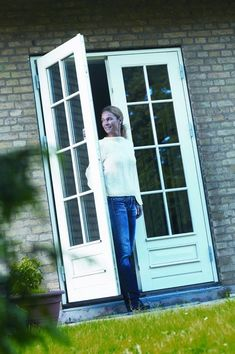 Single French style door with insulated glass and sidelights ...