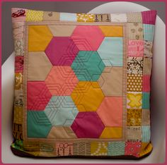 hexie quilting on hexies! (jan 12, 2012)
