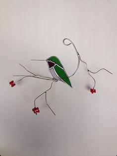 Vert vif avec suncatcher de vitrail pour le Colibri à gorge rubis rouge gorge