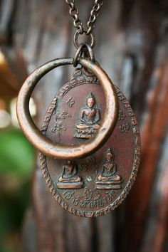 Private Collection: Vintage Solid Copper Multi-Buddha Necklace