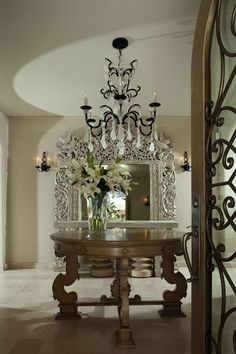 Versailles II Chandelier by in a foyer designed by Sandra Espinet Foyer Design, House Design, Set Design, Beautiful Space, Beautiful Homes, Entry Foyer, Entryway Decor, Grand Foyer, Tuscan Design