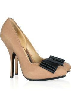 d44d7790fff6 Lanvin Bow-embellished nubuck pumps ❤ liked on Polyvore Tan High Heels