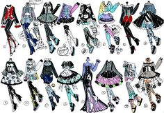 CLOSED-February goth clothes by Guppie-Vibes on DeviantArt Diy Goth Clothes, Manga Clothes, Drawing Anime Clothes, Clothing Sketches, Dress Sketches, Fashion Design Drawings, Fashion Sketches, Chibi, Pelo Anime