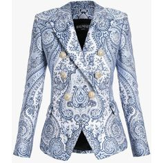 Double-breasted printed blazer   Women's blazers   Balmain ($3,905) ❤ liked on Polyvore featuring outerwear, jackets and blazers