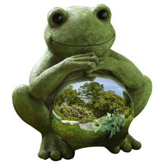 Amazon.com: Grasslands Road Lilypad Lane Happy Sitting Frog with Silver Glass Glazing Ball: Patio, Lawn & Garden