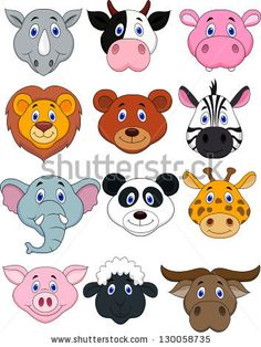 Cartoon animal head icon - stock vector