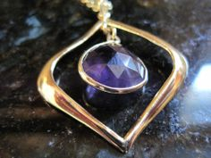 Gold Vermeil Sterling Silver~Italy~Amethyst Purple Drop Dangle Pendant Necklace #DropDangle