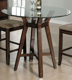 Carlsbad Round Glass Top Dining Table W Pedestal Base In Cherry