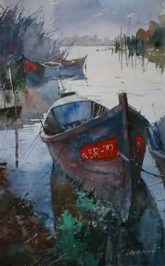 Danube boats VII by Eugen Chisnicean Watercolor ~ 48cm x 30cm