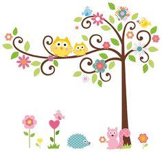 Muursticker babykamer boom met dieren - Eijffinger 808105 | Muurstickers Gup - baby kamer | BEHANG4KIDZ - Hip kinderbehang, babybehang en muurstickers voor de kinderkamer.