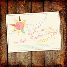 1st birthday party invitations, brighter than the sun...