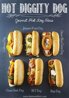 BEST Grilling Recipes Gourmet Hot Dogs from Kleinworth & Co. as well as 5 other Grilling RecipesGourmet Hot Dogs from Kleinworth & Co. as well as 5 other Grilling Recipes Gourmet Hot Dogs, Dog Recipes, Grilling Recipes, Cooking Recipes, Dishes Recipes, Healthy Grilling, Chicken Recipes, Cooking Ribs, Sandwich Recipes