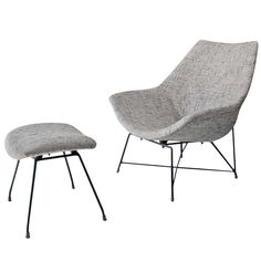 Rare Italian Mid-Century Modern Augusto Bozzi Cosmos Lounge Chair, 1955  | From a unique collection of antique and modern ottomans and poufs at http://www.1stdibs.com/furniture/seating/ottomans-poufs/