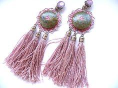 Tassel earrings Fringe Earrings Pink tassel earrings by MMGEM