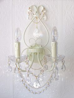 Double-Light Ivory Crystal Wall Sconce