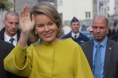 Queen Mathilde of Belgium visits Cerfontaine on November 19, 2014 in Namur, Belgium.
