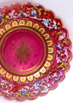 Rare 19th c. Moser Enameled Cranberry Glass Cabinet Plate