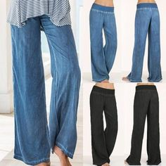 f3d3f7829308a Plus Size Loose Women Wide Leg Pants Elastic Waist Yoga Trousers