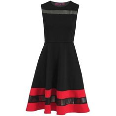 Missi Celebrity Red & Black Skater Dress ($70) ❤ liked on Polyvore featuring dresses, short dress, red party dresses, mini party dress, holiday party dresses, night out dresses and round neck dress