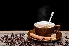 Drinks Coffee Cinnamon Black background Cup Grain Food
