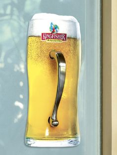 Interactive outdoor advertisement.  Every time someone opens this door, they'll get to interact with this beer brand.