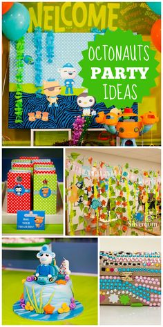 An Octonauts underwater fantasy birthday party in blue, orange and sea green with a fun treasure hunt!  See more party planning ideas at CatchMyParty.com!