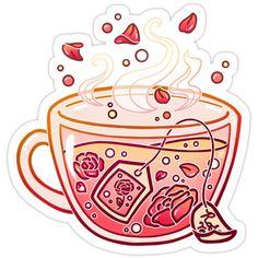 Sweet Rose Tea Sticker by heysoleilart Redbubble # Cute Food Drawings, Cute Kawaii Drawings, Cute Animal Drawings, Sweet Drawings, Arte Do Kawaii, Kawaii Art, Stickers Kawaii, Cute Stickers, Cartoon Kunst