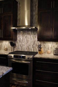 A Tile Backsplash Gets Full Attention In This Open Concept Kitchen  Rooftightca. Vertical Glass Subway