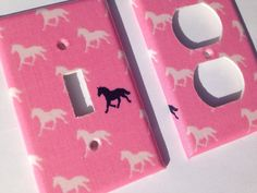 Horse Light Switch Cover / Single Light by COUTURELIGHTPLATES Horse room decor , pink horse decor , girls horse room decor , horse lover, tween room decor