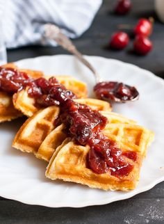 Crispy Buttermilk Waffles with Cherry Compote