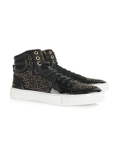 469066eeaa0a9 Yves Saint Laurent 2263 Yves Saint Laurent Studded suede and patent-leather  high-top sneakers - ShopStyle Athletic
