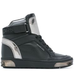 Michael Michael Kors 'Pia' hi-top sneakers (294 AUD) ❤ liked on Polyvore featuring shoes, sneakers, black, black high top sneakers, black shoes, leather sneakers, leather shoes and black leather high tops