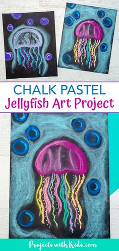 Create this colorful jellyfish art project with just a few simple supplies and easy chalk pastel techniques. A great ocean art activity kids will love to make! #projectswithkids #chalkpastels #kidsart Colorful Jellyfish, Jellyfish Art, Jellyfish Drawing, Watercolor Jellyfish, Jellyfish Tattoo, Tattoo Watercolor, Abstract Watercolor, Drawing For Kids, Painting For Kids