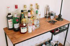 Rustic Wood and Metal Bar Cart - Industrial Style - Uniqhe - Reclaimed - Bar Cabinet - Liquor Cart - Liquor Cart, Wine Cart, Pottery Barn Hacks, Pottery Barn Style, Metal Bar Cart, Diy Bar Cart, Ikea Laptop Table, Vittsjo Hack, Small Kitchen Furniture