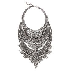 DYLANLEX Falkor ($980) ❤ liked on Polyvore featuring jewelry, necklaces, swarovski crystal jewelry, long necklace, indian necklace, silver plated necklace and coin jewelry