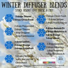 Stuck inside or want to try something new in your diffuser this winter? Give a few of these blends a try! :) More information on Young Living Essential Oils at www.essentiallylovelyliving.com