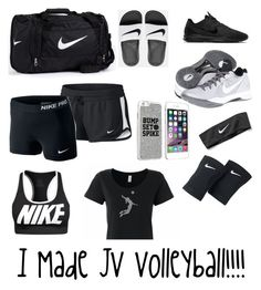 """""""J.V Volleyball"""" by southpadresmith ❤ liked on Polyvore featuring NIKE, nike, Volleyball, queen and 2015"""