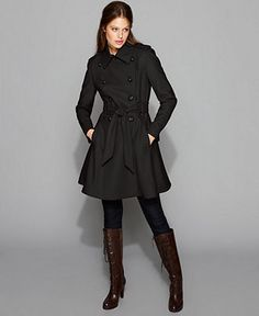 Double Breasted Belted Skirted Wool Blend Trench