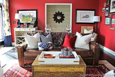 Brown and grey neutrals, with red white and blue accents